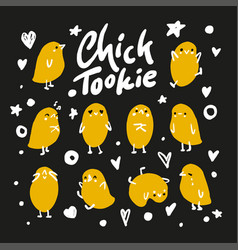 set cute cartoon chickens for easter design vector image