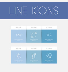 set of 6 editable weather icons line style vector image
