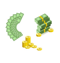 set of cartoon money currency elements with green vector image