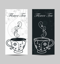 set vertical banners cup with floral design vector image