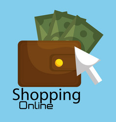 Shopping online with wallet and bills vector