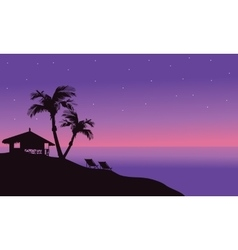 Silhouette of hut in beach at summer vector image