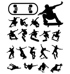 Silhouettes of skate jumpers vector