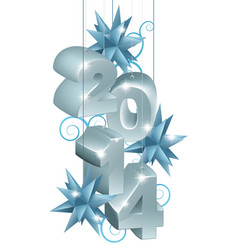 silver new year or christmas 2014 decorations vector image
