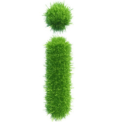 small grass letter i on white background vector image vector image