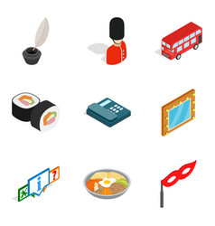 State of affairs icons set isometric style vector