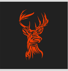 style tattoo deer head vector image vector image
