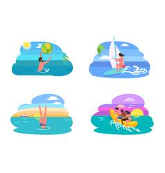 summer water activities in ocean or sea vector image