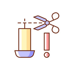 Trimming candle wick rgb color manual label icon vector