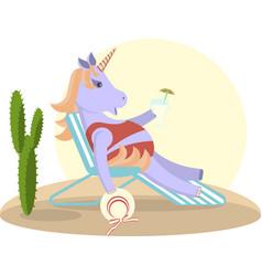 Unicorn sits on a deckchair vector