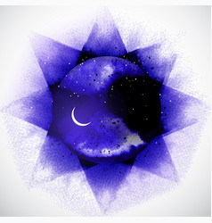 Violet space background with stars and crescent vector