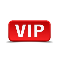 Vip red 3d square button isolated on white vector