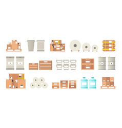 Warehouse packaging types set in flat style vector