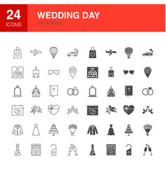 Wedding day line web glyph icons vector