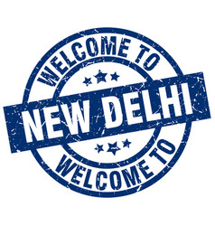 Welcome to new delhi blue stamp vector