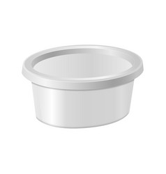 white oval plastic box for your design and logo vector image