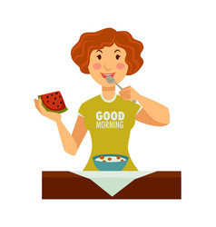 woman in good morning t-shirt starts day vector image