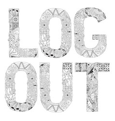 word log out for coloring decorative vector image