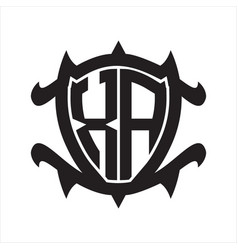 Xa logo monogram isolated with frame shield shape vector