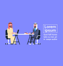 arabic business men sitting at office desk working vector image vector image