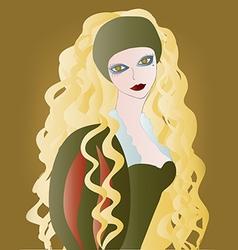 Beautiful girl with long wavy hair vector image vector image