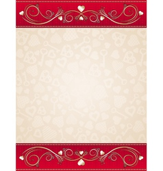beige valentine background with red floral border vector image