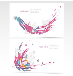 business card set with floral elements vector image