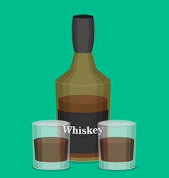 flat bottle of whiskey colorful vector image