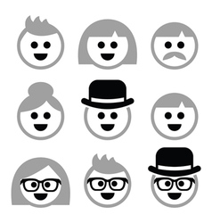 People with grey hair seniors old people icons vector image vector image
