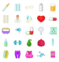personal doctor icons set cartoon style vector image vector image