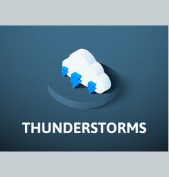 thunderstorms isometric icon isolated on color vector image