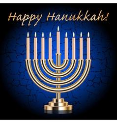 Happy Hanukkah blue wish card vector image vector image