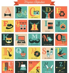 Hipster alphabet concept background with icons vector image