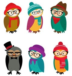 Set owls hipsters vector image vector image