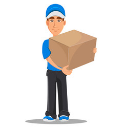 smiling delivery man in blue uniform holding big vector image