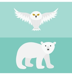 Snowy white owl Flying bird with big wings Polar vector image vector image