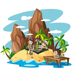 Children camping out on island vector image vector image
