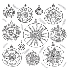 Ethnic christmas baubles set vector