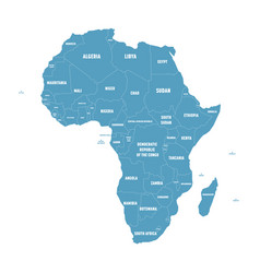 simple flat blue map of africa continent with vector image vector image