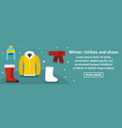 winter clothes and shoes banner horizontal concept vector image