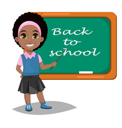 back to school cute afro-american girl standing vector image