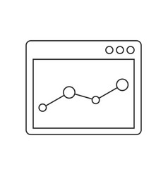 browser window with chart line icon vector image vector image