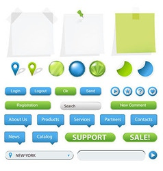 GPS Navigation Elements And Blank Note Papers vector image vector image