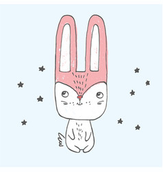 Little bunny sitting among stars vector