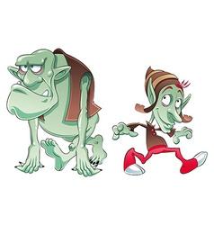 Ogre and Elf vector image vector image