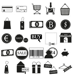 set shop black icon on white vector image vector image