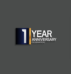 1 year anniversary logotype with blue and silver vector