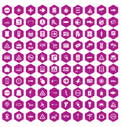 100 pointers icons hexagon violet vector image