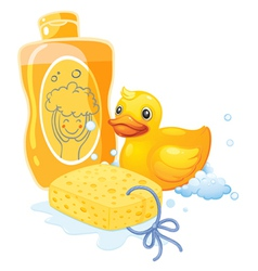 A bubble bath with sponge and toy duck vector