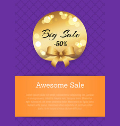 awesome sale -50 off golden label round elements vector image